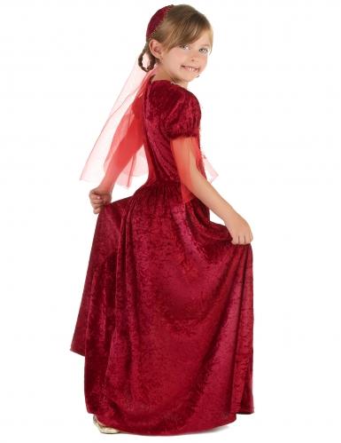 Disfraz de princesa medieval rojo niña-1