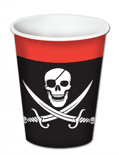 8 Vasos de cartón pirata 260 ml