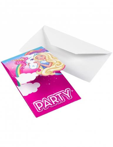 8 Tarjetas De Invitación Barbie Dreamtopia