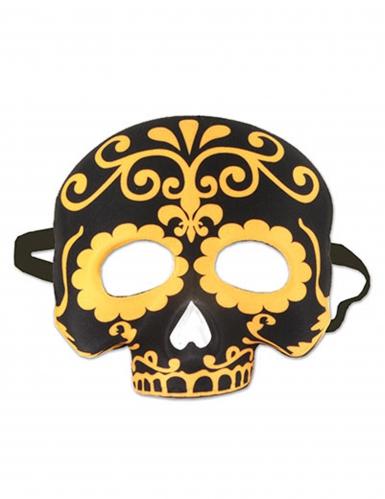 Semi máscara calavera negra y amarilla