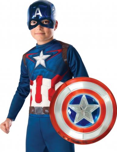 kit máscara y escudo metalizado Capitán América™ niño