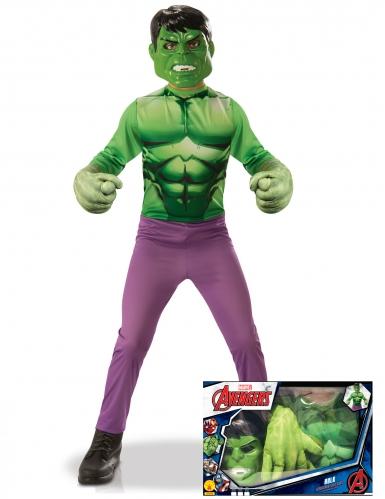 Cofre clásico Hulk™ con guantes gigantes niño