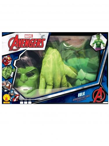 Cofre clásico Hulk™ con guantes gigantes niño-1