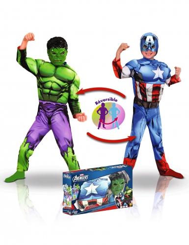 Disfraz lujo reversible Capitán América™ y Hulk™ niño en caja