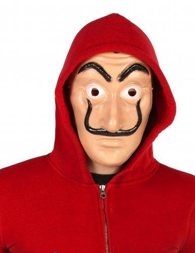 Disfraz y máscara de ladrón rojo adulto-2