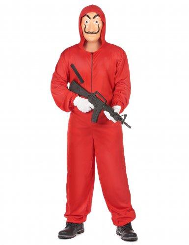 Disfraz y máscara de ladrón rojo adulto-1