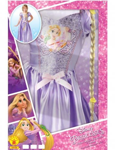 Disfraz princesa Rapunzel™ con lentejuelas y trenza niña-1