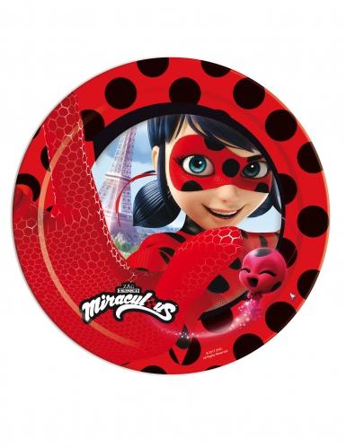 8 Platos de cartón Ladybug™ Miraculous 23 cm