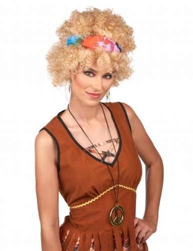 Peluca afro hippie rubia adulto-1