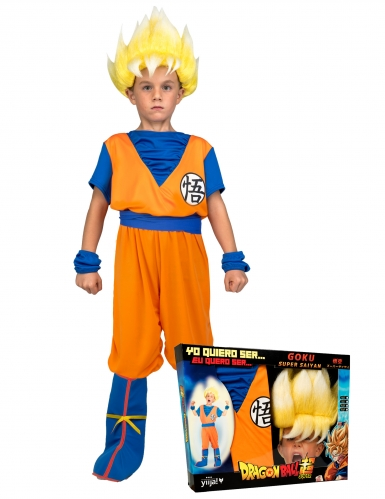 Disfraz Super Saiyajin Goku Dragon Ball™ niño con peluca en caja