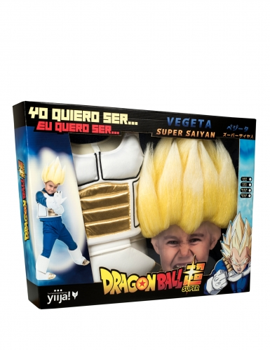 Disfraz Super Saiyajin Vegeta Dragon Ball™ niño con peluca-3