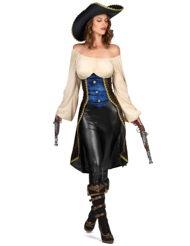 Disfraz pirata marrón mujer