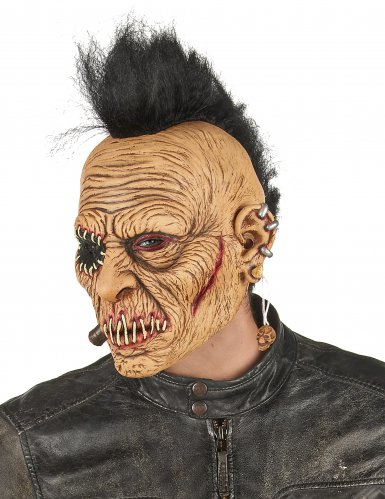 Máscara látex punk con cresta adulto