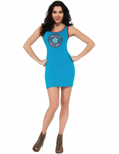 Disfraz vestido brillantes azules Capitán América™ mujer
