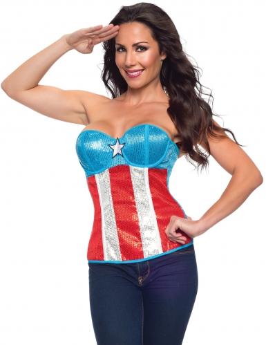 Corsé de lentejuelas Capitán América™ mujer