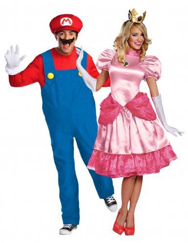 Disfraz de pareja Peach™ y Mario™