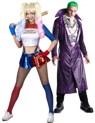 Disfraz pareja de Joker y socio diabólico
