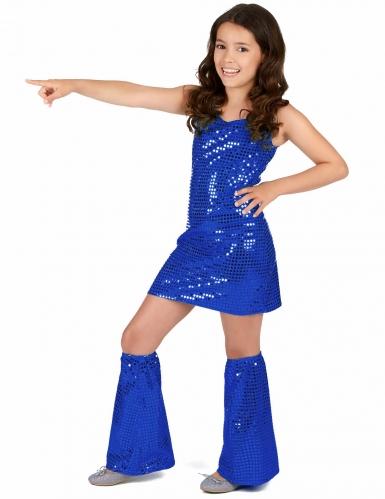 Disfraz disco azul añil niña