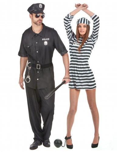 Disfraz de pareja policía y prisionero adulto
