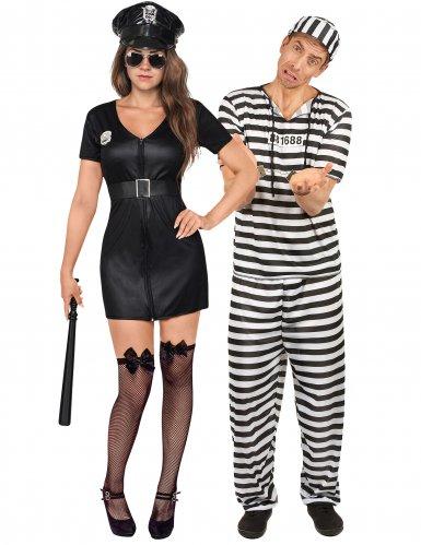 Disfraz de pareja oficial de policía y prisionero adulto