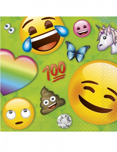 16 Servilletas pequeñas de papel Emoji Rainbow™ 25 x 25 cm