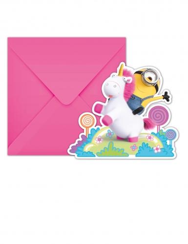 6 Tarjetas De Invitación Con Sobres Minions Unicornio