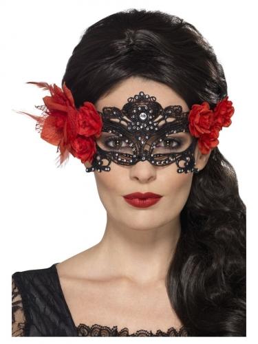 Máscara encaje negro piedras brillantes