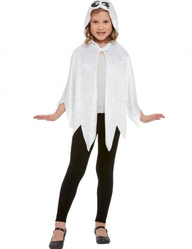 Capa fantasma con capucha terciopelo blanco niño