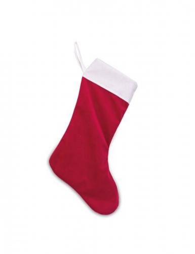 Bota Papá Noel terciopelo rojo y algodón blanco 29 x 48 cm