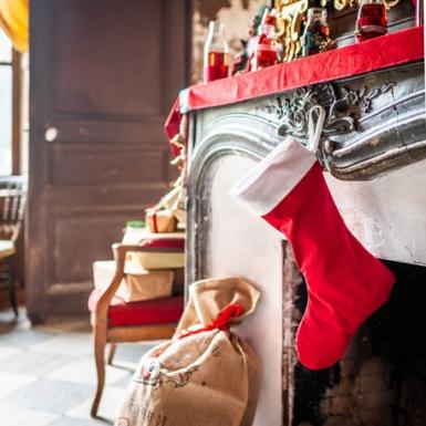 Bota Papá Noel terciopelo rojo y algodón blanco 29 x 48 cm-1
