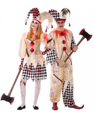 Disfraz pareja arlequín sangriento adolescente