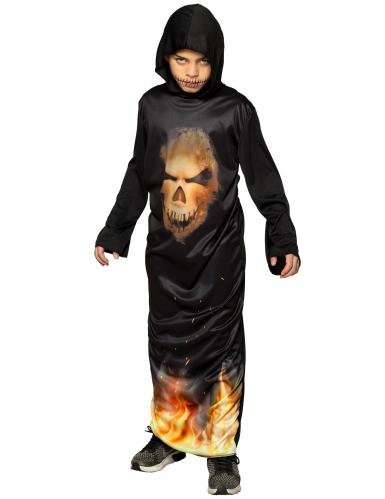 Disfraz túnica con capucha calavera en llamas niño