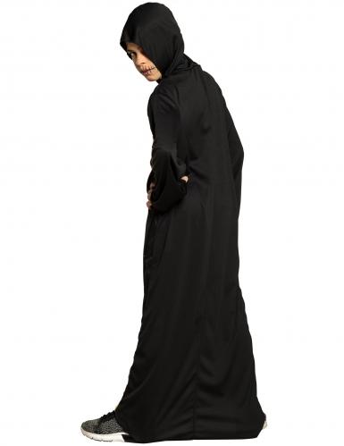Disfraz túnica con capucha calavera en llamas niño-1