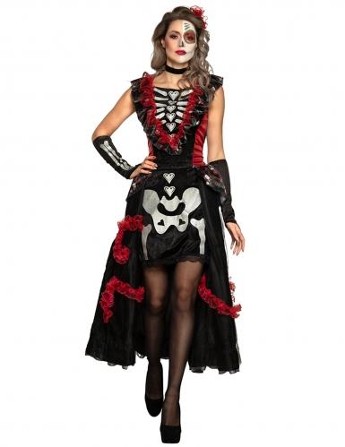 Disfraz Día de los muertos encantadora mujer