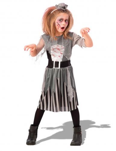Disfraz zombie pirata gris niña