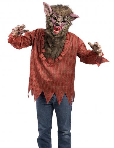 Disfraz túnica y máscara hombre lobo adulto