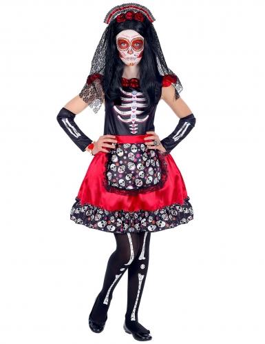 Disfraz Día de los muertos negro y rojo niña-1