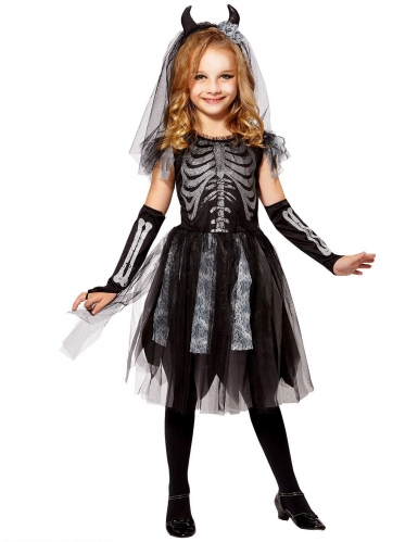 Disfraz novia demonio esqueleto niña