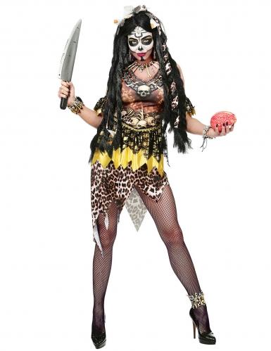Disfraz líder vudú leopardo mujer-3