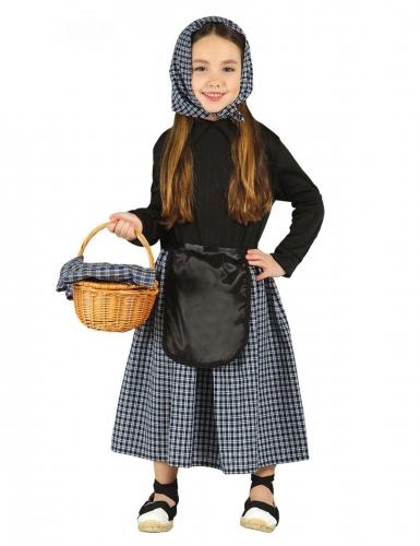 Disfraz de castañera a cuadros niña