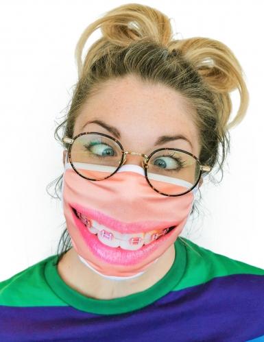 Máscara cubre rostro estampado sonrisa con brackets