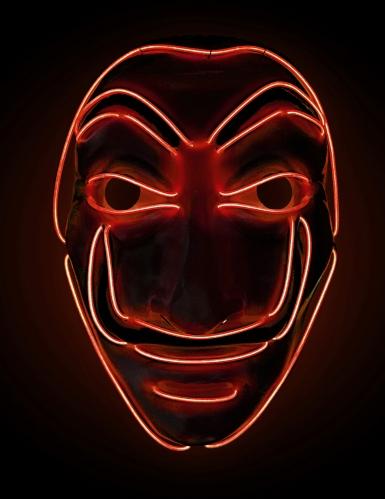 Máscara de ladrón LED rojos adultos