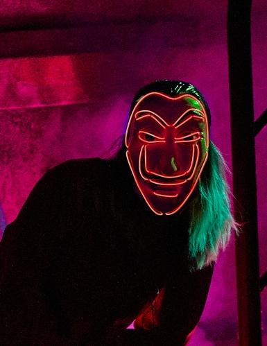 Máscara de ladrón LED rojos adultos-2