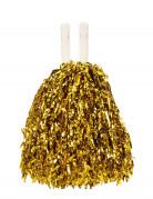 Par de pompones de aficionado metalizados, color dorado
