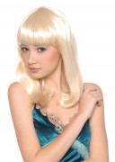 Peluca rubia en forma de media melena para mujer.