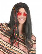 Peluca de hippie negra para hombre