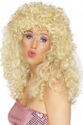 Peluca rubia rizada para mujer