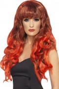 Peluca roja de sirena para mujer