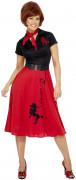 Disfraz de rock n'roll de los años 50 para mujer