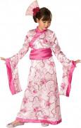 Disfraz de geisha rosa floral para niña